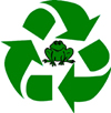 recycled logo with frog